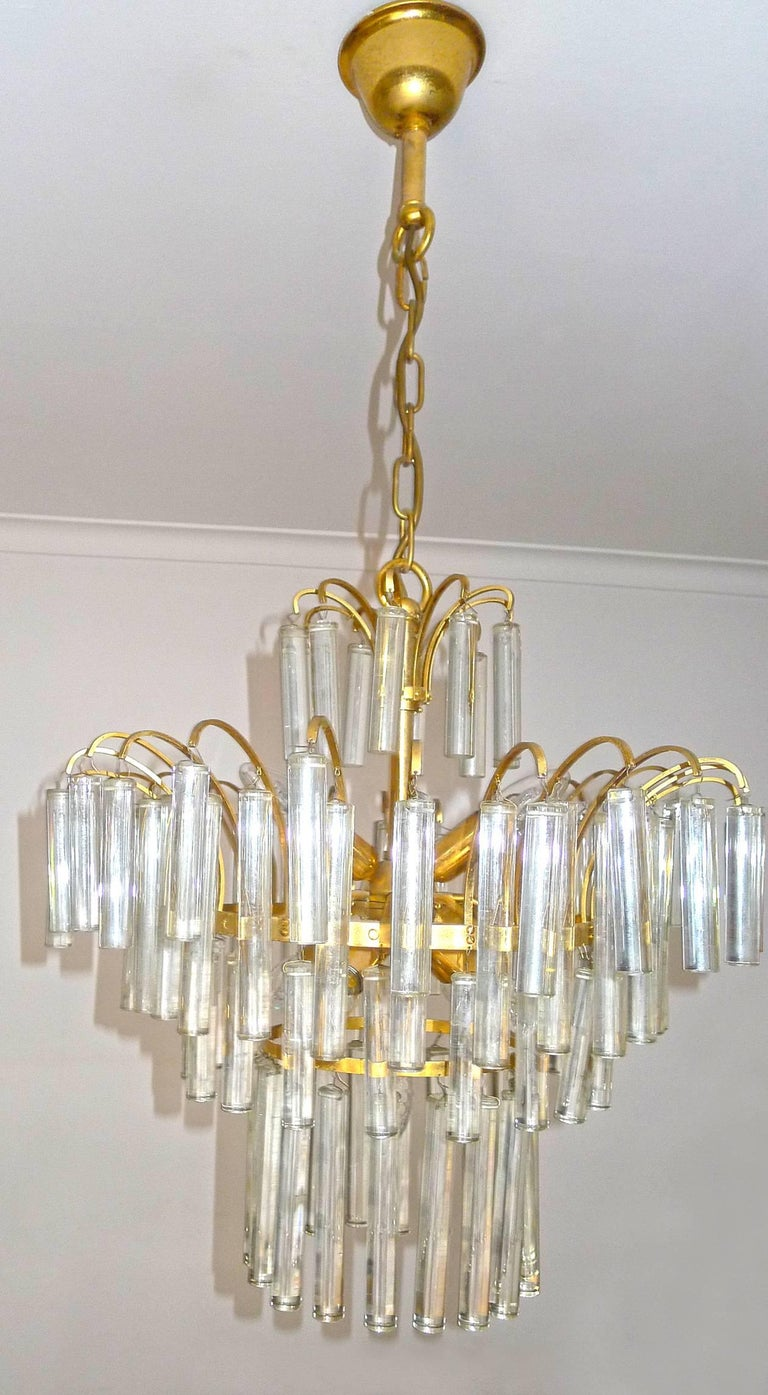 Hollywood Regency Large Venini Camer Midcentury Gilt Brass 94 Crystal Rods Waterfall Chandelier For Sale