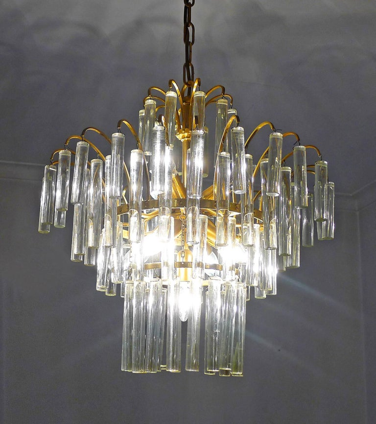 Italian Large Venini Camer Midcentury Gilt Brass 94 Crystal Rods Waterfall Chandelier For Sale