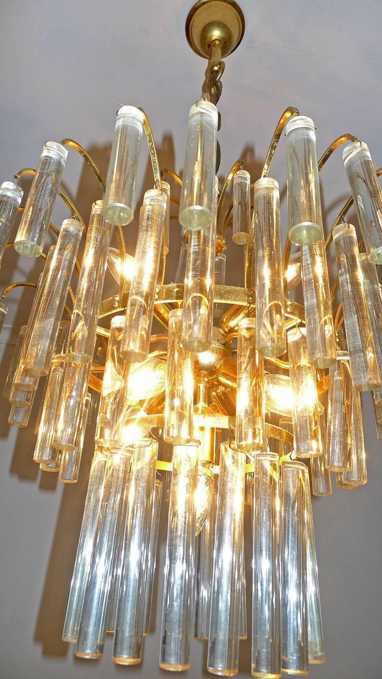 20th Century Large Venini Camer Midcentury Gilt Brass 94 Crystal Rods Waterfall Chandelier For Sale