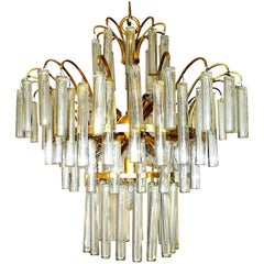 Large Venini Camer Midcentury Gilt Brass 94 Crystal Rods Waterfall Chandelier