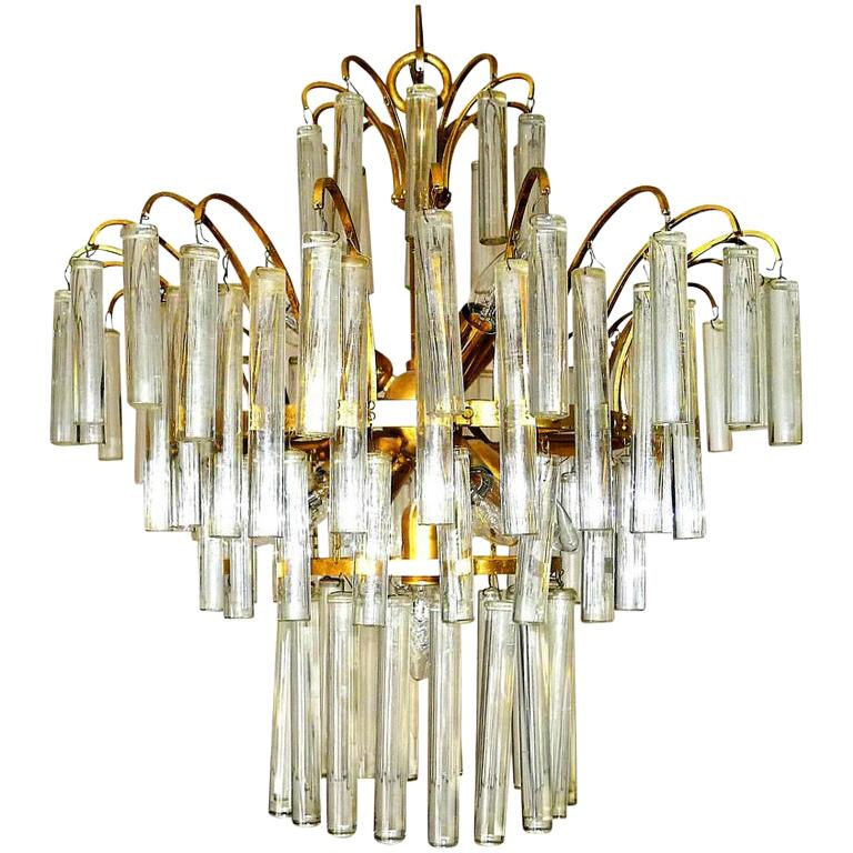 Large Venini Camer Midcentury Gilt Brass 94 Crystal Rods Waterfall Chandelier For Sale