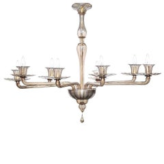 Large Venini Chandelier in Fume Glass