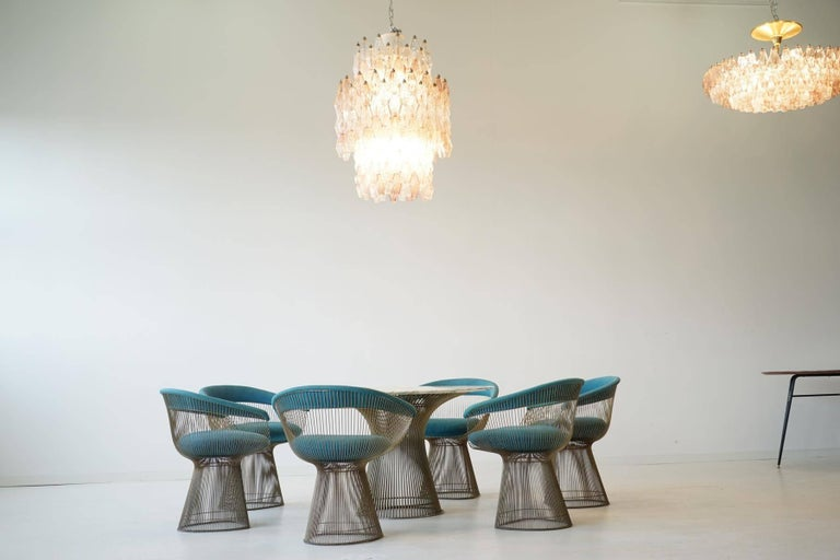 Large rare Polyhedr Venini Glass Chandelier Lamp Light Poliedri by Carlo Scarpa Very large and rare two-color glass Venini chandelier from the 1950s. Abstract diamond forms with faceted sides. Blown glass.