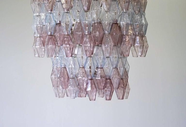 Italian Large Polyhedr Venini Glass Chandelier Lamp Light Poliedri by Carlo Scarpa For Sale