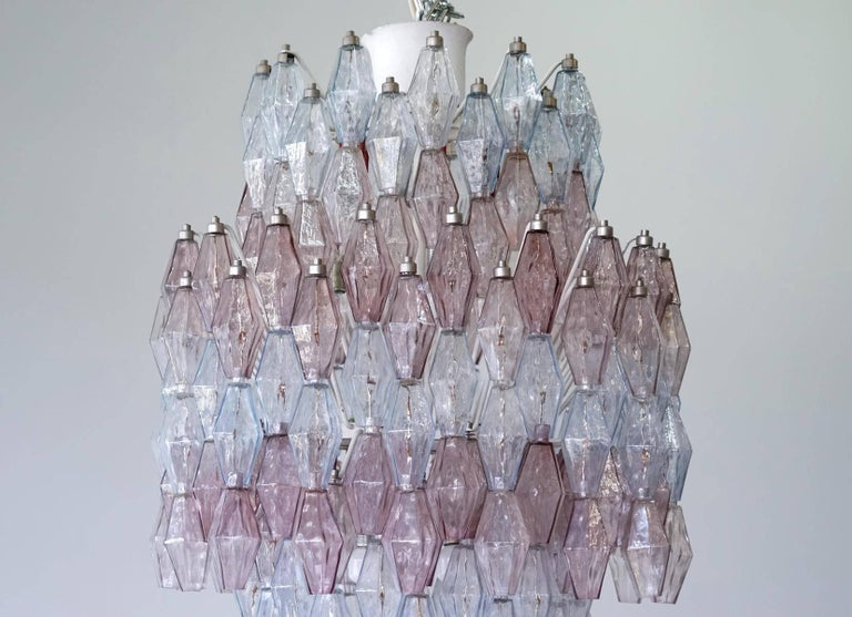 Large Polyhedr Venini Glass Chandelier Lamp Light Poliedri by Carlo Scarpa In Excellent Condition For Sale In Greven, DE
