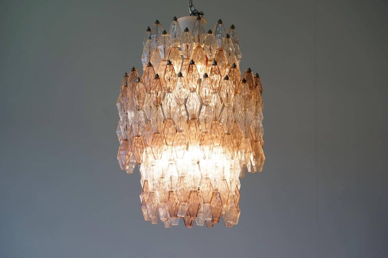 Mid-20th Century Large Polyhedr Venini Glass Chandelier Lamp Light Poliedri by Carlo Scarpa For Sale