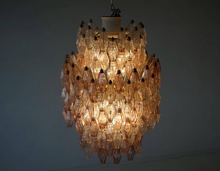 Blown Glass Large Polyhedr Venini Glass Chandelier Lamp Light Poliedri by Carlo Scarpa For Sale