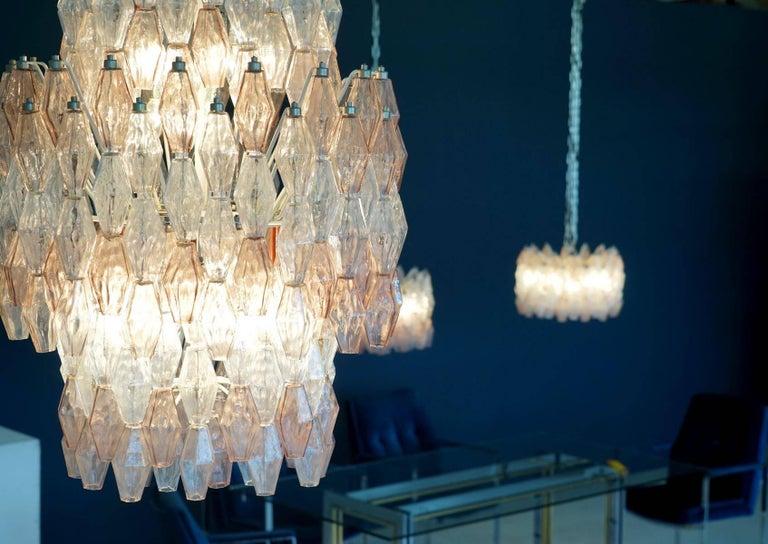 Large Polyhedr Venini Glass Chandelier Lamp Light Poliedri by Carlo Scarpa For Sale 1