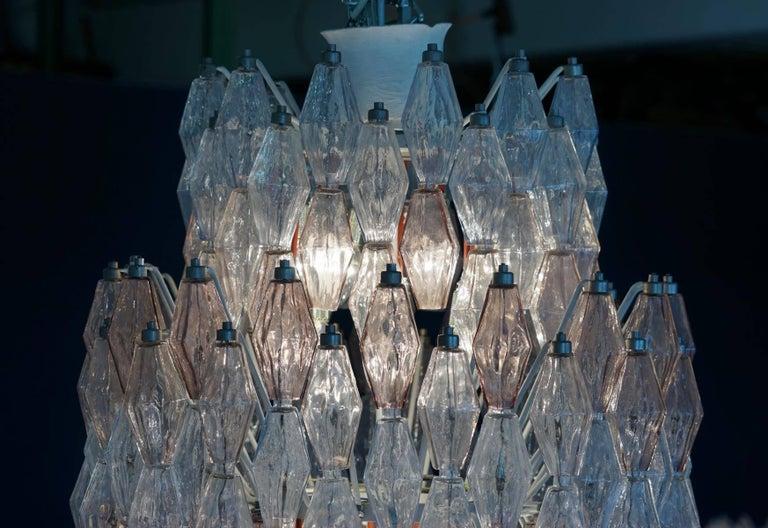 Large Polyhedr Venini Glass Chandelier Lamp Light Poliedri by Carlo Scarpa For Sale 2