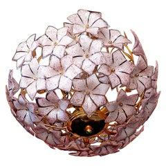 Large Italian Murano Pink Flower Bouquet Art Glass Gilt Brass Chandelier