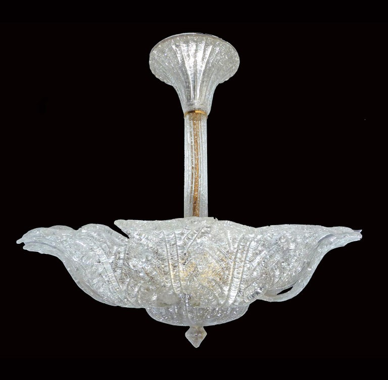 Large Venini Murano Art Glass Flower Shape and Gilt Brass Chandelier, Italy For Sale 2