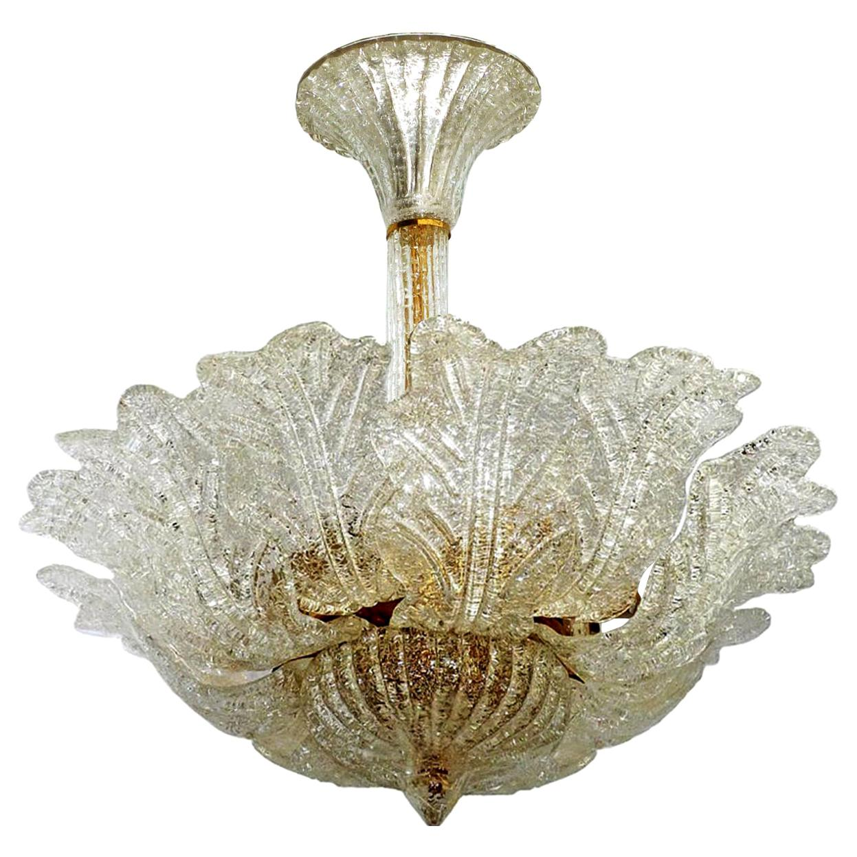 Large Venini Murano Art Glass Flower Shape and Gilt Brass Chandelier, Italy