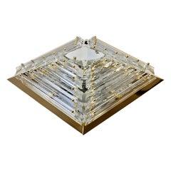 Large Venini Murano Glass and Gilt Brass Pyramid Flush Mount Light Fixture