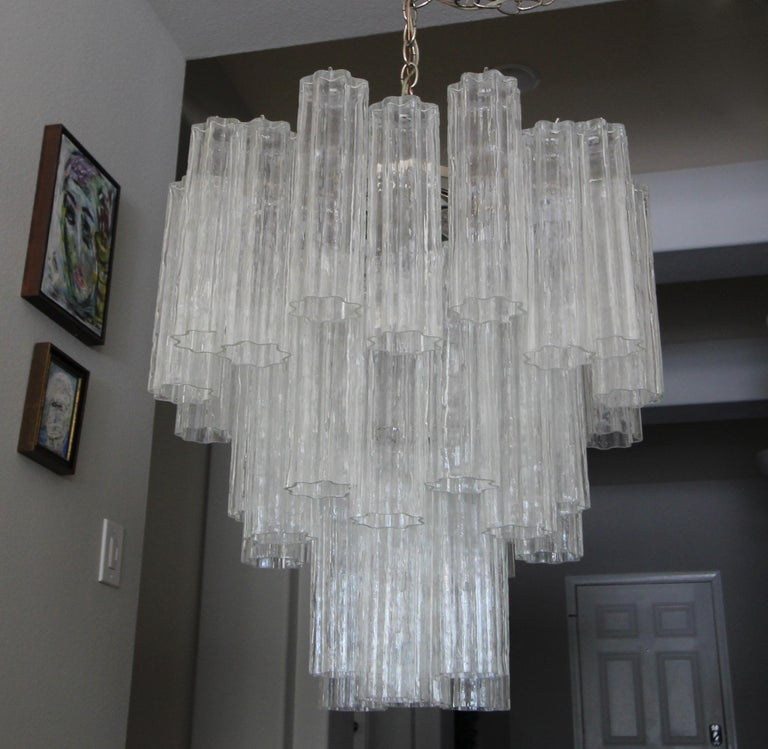 Large Venini Murano Tronchi Glass Tube Chandelier For Sale 4