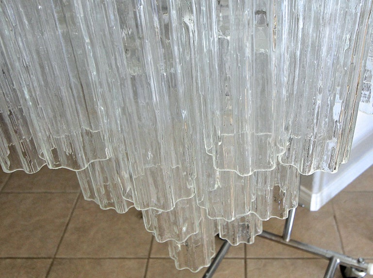 Large Venini Murano Tronchi Glass Tube Chandelier For Sale 8