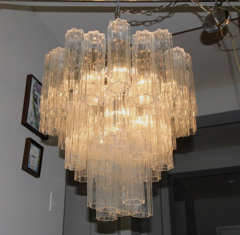 Large Venini Murano Tronchi Glass Tube Chandelier For Sale 10