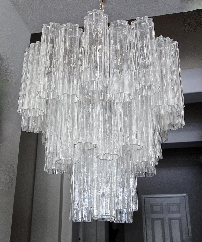 Large Venini Murano Tronchi Glass Tube Chandelier For Sale 11