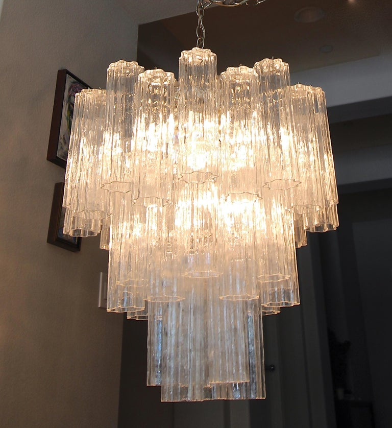 Mid-20th Century Large Venini Murano Tronchi Glass Tube Chandelier For Sale