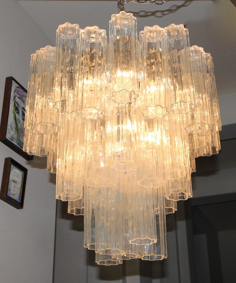 Large Venini Murano Tronchi Glass Tube Chandelier For Sale 1