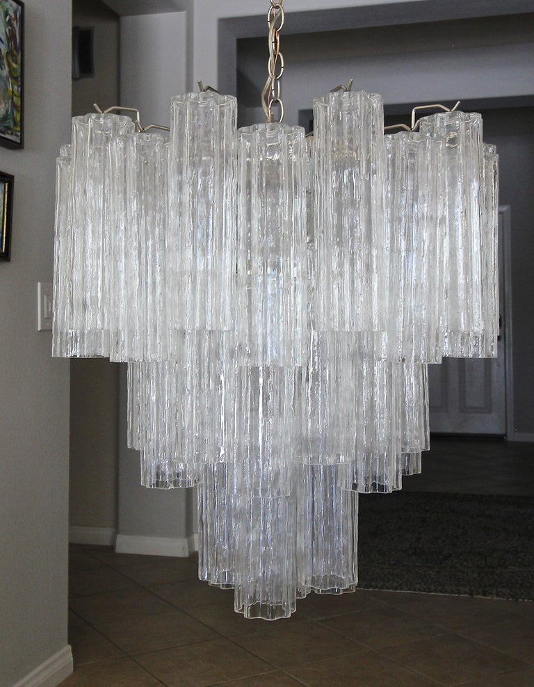 Large Venini Murano Tronchi Glass Tube Chandelier For Sale 3