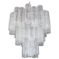 Large Venini Murano Tronchi Glass Tube Chandelier
