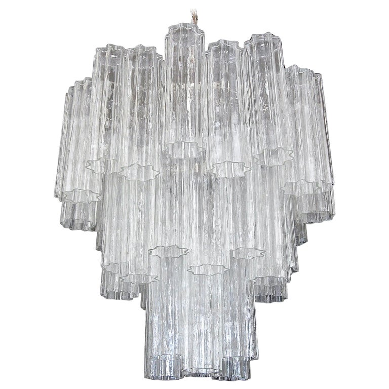 Large Venini Murano Tronchi Glass Tube Chandelier For Sale