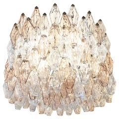 Large Venini Poliedri Murano Glass Chandelier
