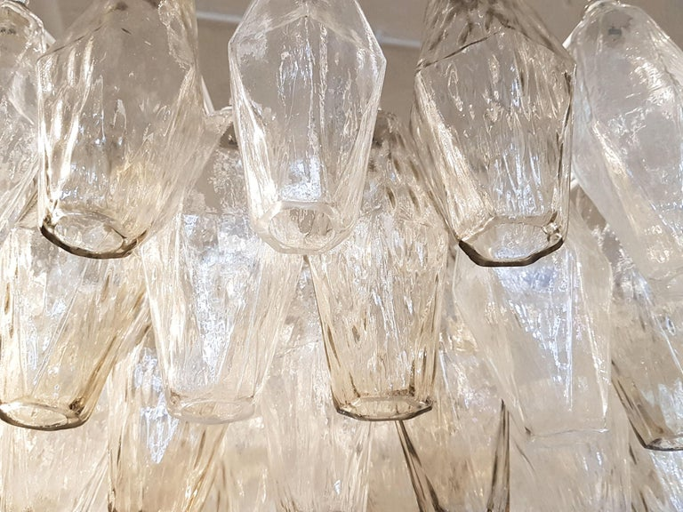 Italian Large Venini Polyhedron Clear/Beige Murano Chandelier, Mid-Century Modern, 1970s For Sale