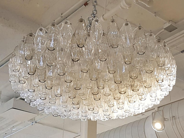 Late 20th Century Large Venini Polyhedron Clear/Beige Murano Chandelier, Mid-Century Modern, 1970s For Sale