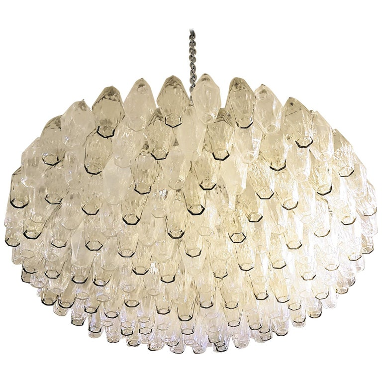 Large Venini Polyhedron Clear/Beige Murano Chandelier, Mid-Century Modern, 1970s For Sale
