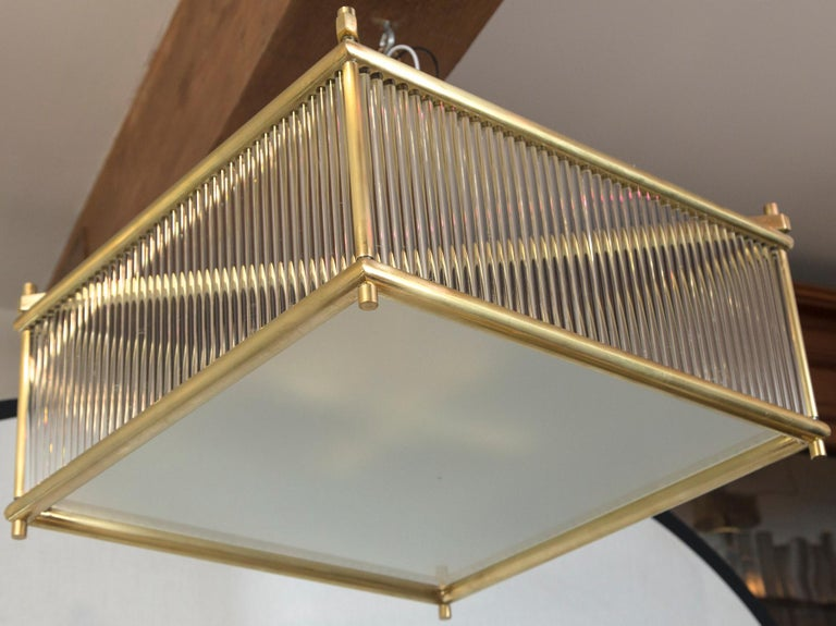 Modern Large Venini Style Brass Square Ceiling Fixture, Contemporary For Sale