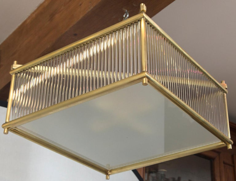 Large Venini Style Brass Square Ceiling Fixture, Contemporary In New Condition For Sale In Westport, CT