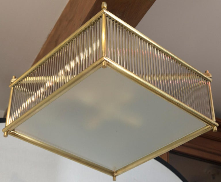 Glass Large Venini Style Brass Square Ceiling Fixture, Contemporary For Sale