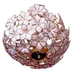 Venini Style Italian Murano Pink Flower Bouquet Art Glass Gilt Brass Chandelier
