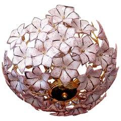 Large Venini Style Italian Murano Pink Flower Bouquet Glass GiltBrass Chandelier