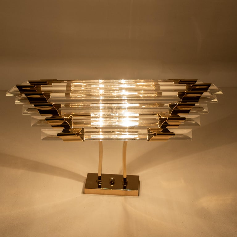 Large Venini Style Murano Glass and Brass Sconce Flushmount, Italy For Sale 7