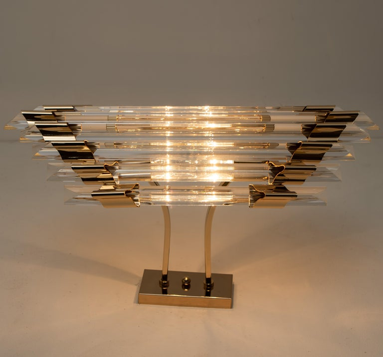 Large Venini Style Murano Glass and Brass Sconce Flushmount, Italy For Sale 8