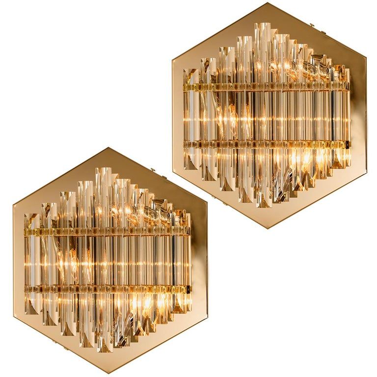 Large Venini Style Murano Glass and Brass Sconce Flushmount, Italy For Sale 11