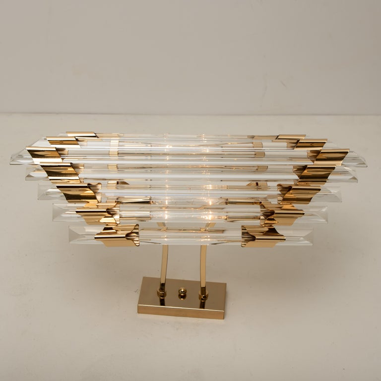 Expressive large Murano glass wall sconce/ flushmount featuring nine long crystals clear glass
