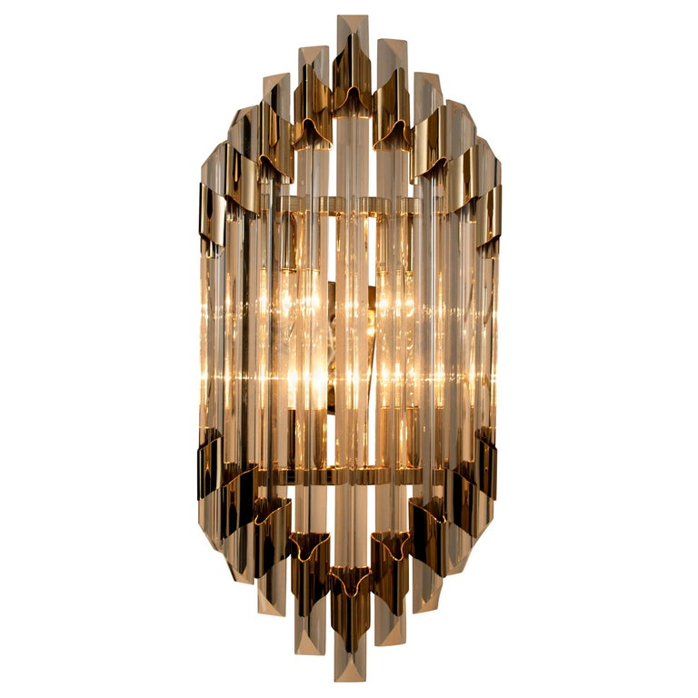 Large Venini Style Murano Glass and Brass Sconce Flushmount, Italy For Sale