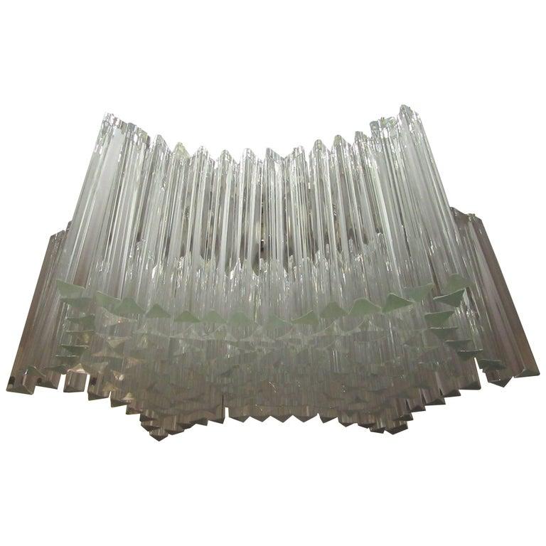 Large Venini Triedri Glass Flush Mount Chandelier For Sale