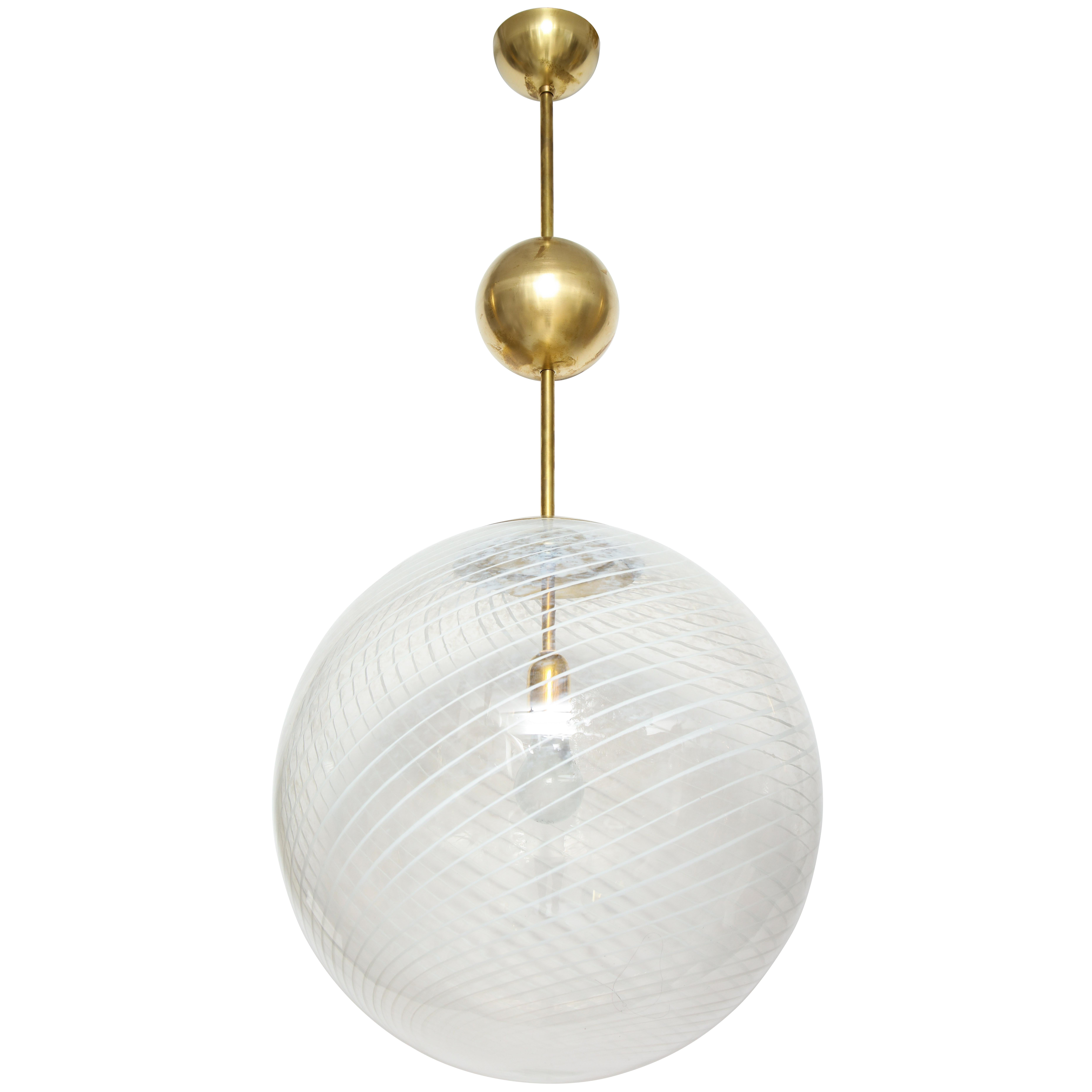 Large Venini White and Clear Murano Glass Globe or Pendant