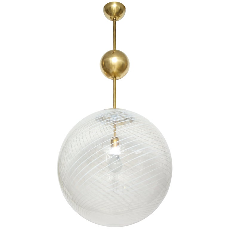 Large Venini White and Clear Murano Glass Globe or Pendant For Sale