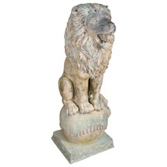 Large Verdigris Bronze Highly Detailed Naturalistic Standing Lion on Ball