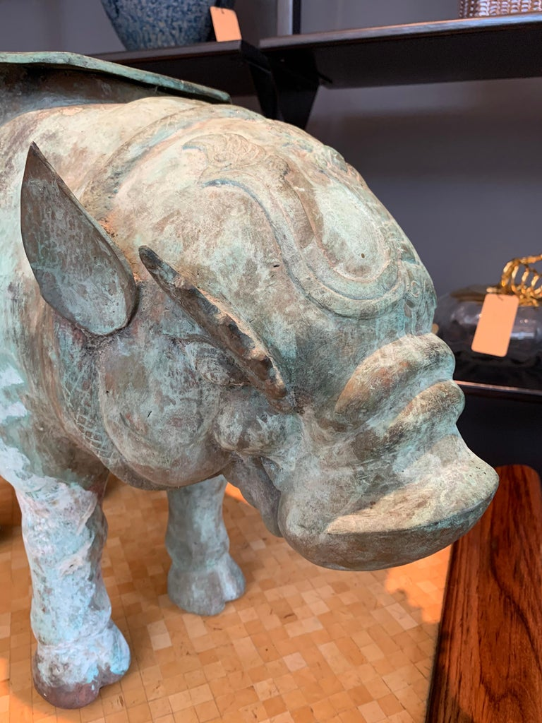 Mid-Century Modern Large Verdigris Bronze Hippopotamus Sundial Garden Sculpture For Sale