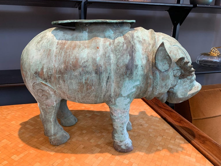 Large Verdigris Bronze Hippopotamus Sundial Garden Sculpture For Sale 1