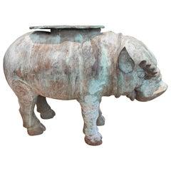 Large Verdigris Bronze Hippopotamus Sundial Garden Sculpture