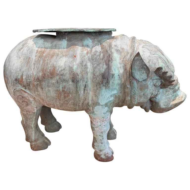 Large Verdigris Bronze Hippopotamus Sundial Garden Sculpture For Sale