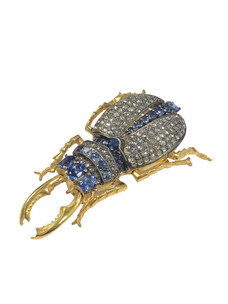 Victorian Large Vermeil and Silver Articulated Diamond Sapphire Beetle Bug Brooch For Sale