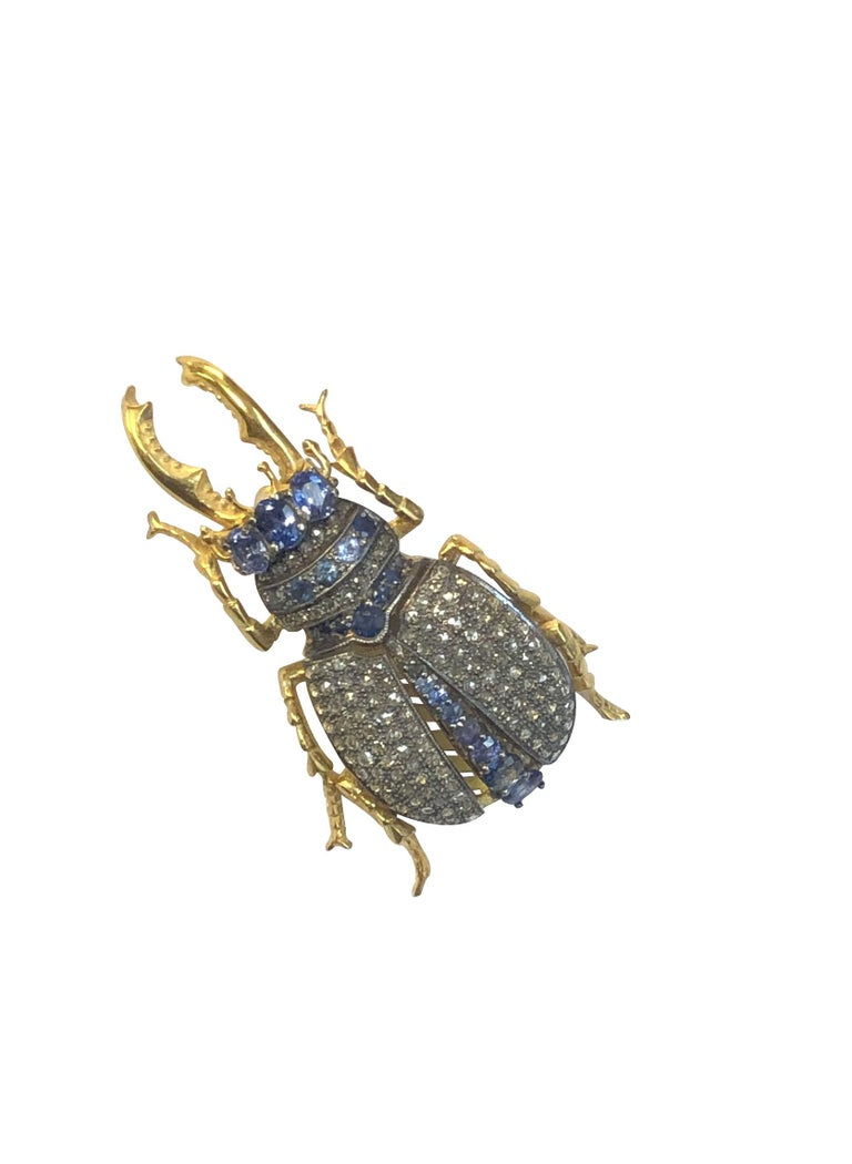 Large Vermeil and Silver Articulated Diamond Sapphire Beetle Bug Brooch In Excellent Condition For Sale In Chicago, IL
